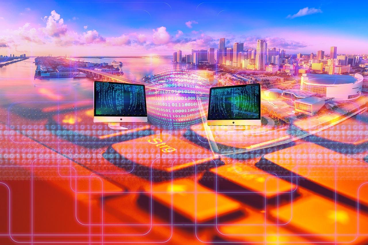 city, panorama, keyboard